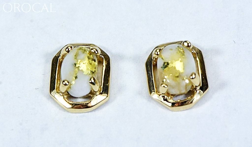 "Gold Quartz Earrings ""Orocal"" EN452Q Genuine Hand Crafted Jewelry - 14K Gold Yellow Gold Casting - Liquidbullion"