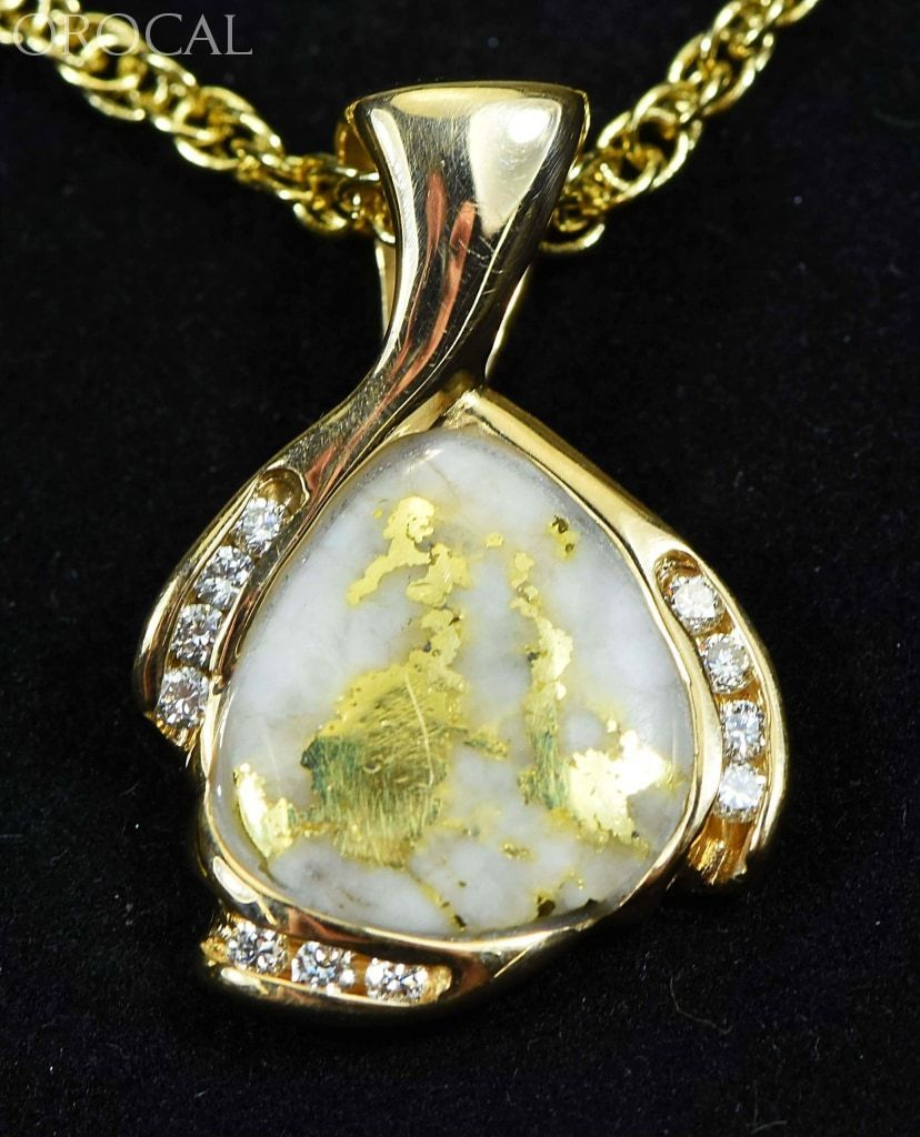 "Gold Quartz Pendant ""Orocal"" PDL105SD16.5QX Genuine Hand Crafted Jewelry - 14K Gold Yellow Gold Casting - Liquidbullion"