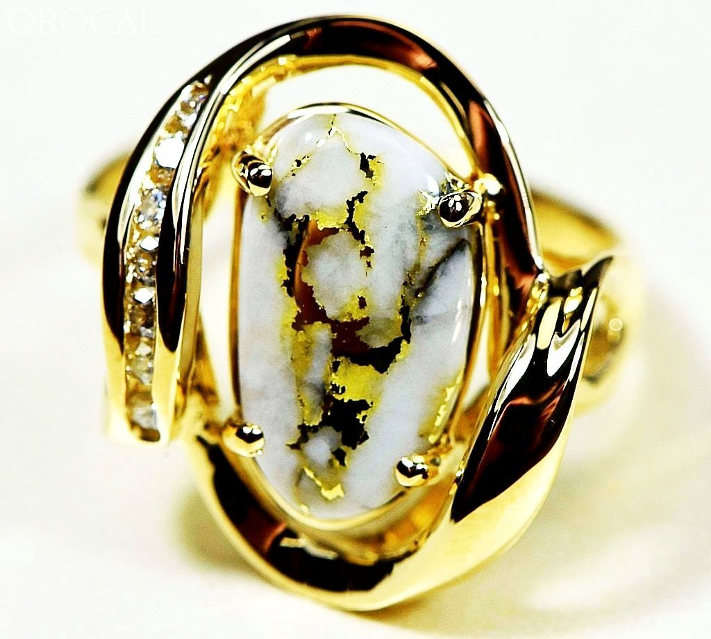"Gold Quartz Ring ""Orocal"" RL1028DQ Genuine Hand Crafted Jewelry - 14K Gold Casting - Liquidbullion"