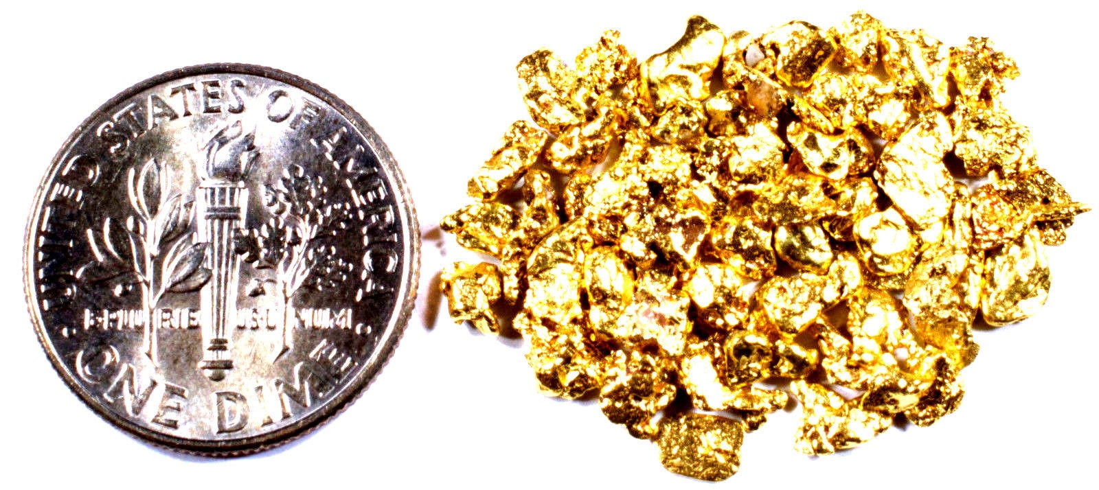10.000 GRAMS ALASKAN YUKON BC NATURAL PURE GOLD NUGGETS #10 MESH - Liquidbullion