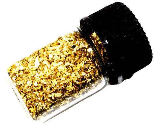 0.125 GRAMS ALASKAN YUKON BC NATURAL PURE GOLD NUGGETS #30 MESH WITH BOTTLE (#B300) - Liquidbullion