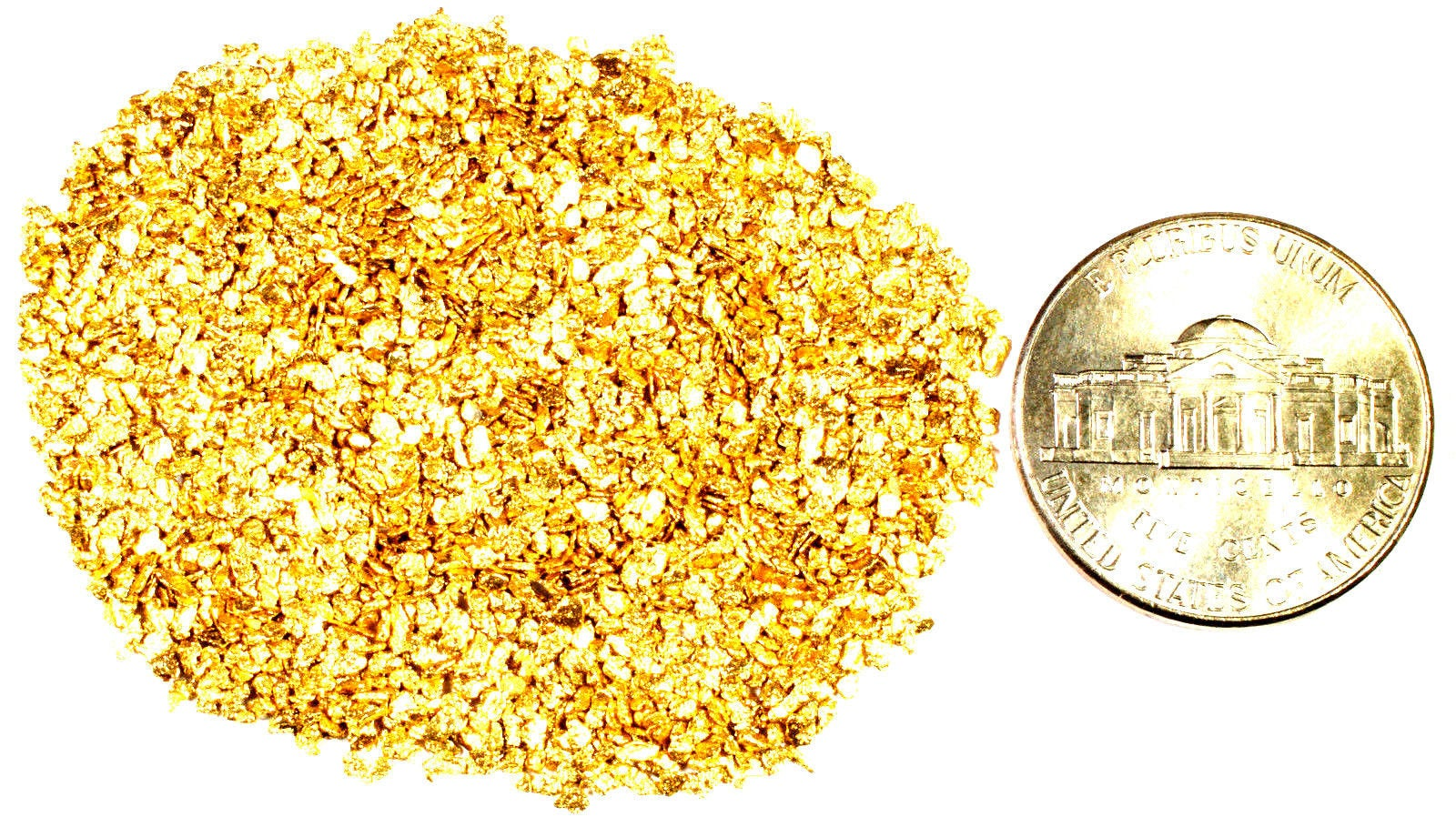 0.125 GRAMS ALASKAN YUKON BC NATURAL PURE GOLD NUGGETS #20 MESH - Liquidbullion