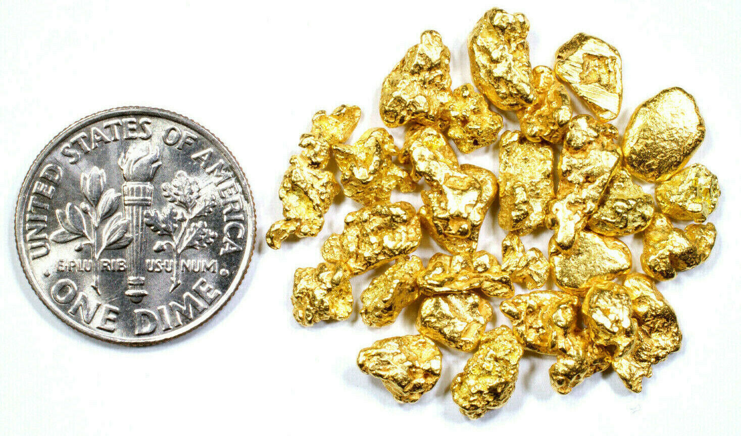 2.000 GRAMS ALASKAN YUKON BC NATURAL PURE GOLD NUGGETS #6 MESH - Liquidbullion
