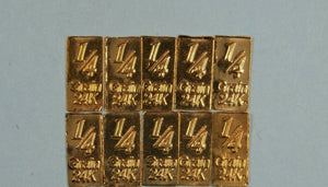 "LOT 10 X 1 ""POT O' GOLD"" 1/60 GRAM .9999 FINE 24K GOLD BULLION BARS - IN COA CARD"