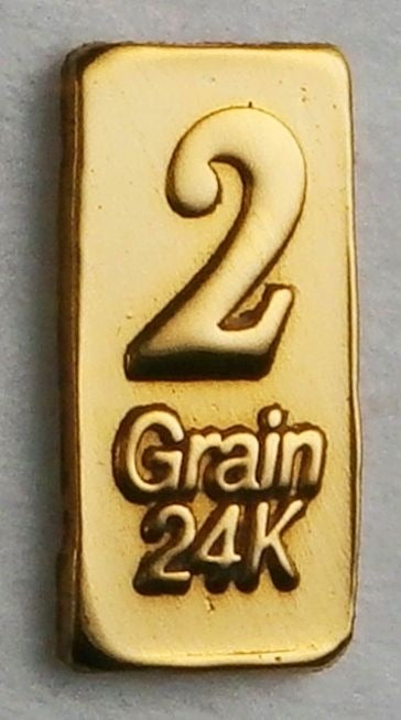2 GRAIN .9999 FINE 24K GOLD BULLION BAR - IN COA CARD