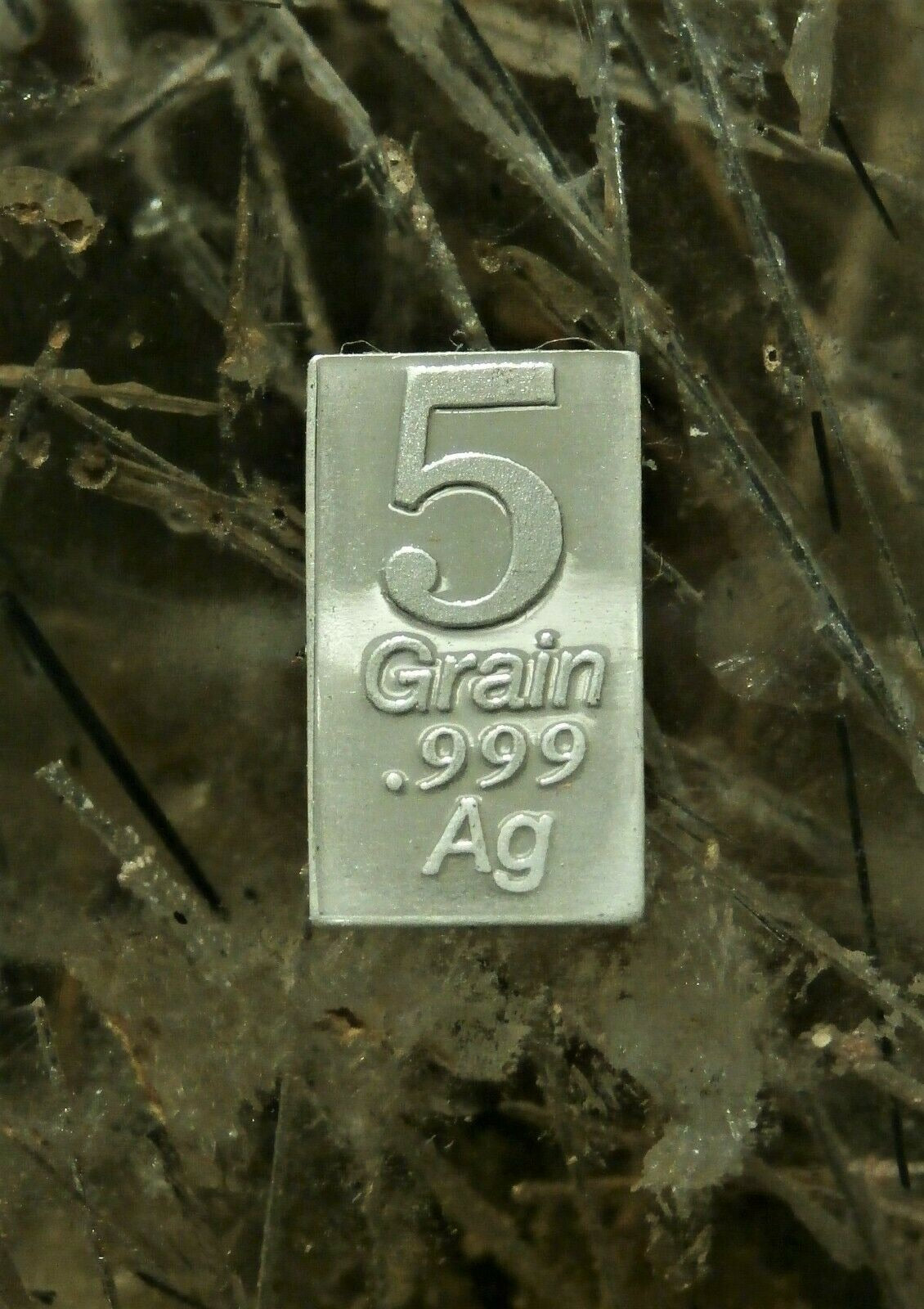 "5 GRAIN .999 FINE SILVER ""GREEN MARBLE"" BAR - IN COA"