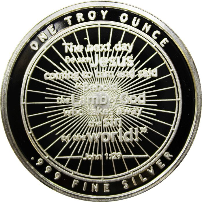 1 TROY OZ .999 FINE SILVER LAMB OF GOD ROUND BU