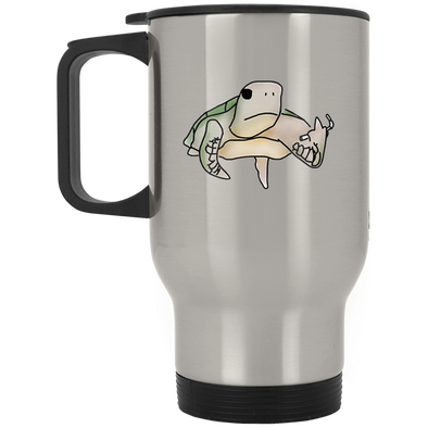 Pete The Pissed Off Turtle Silver Stainless Travel Mug