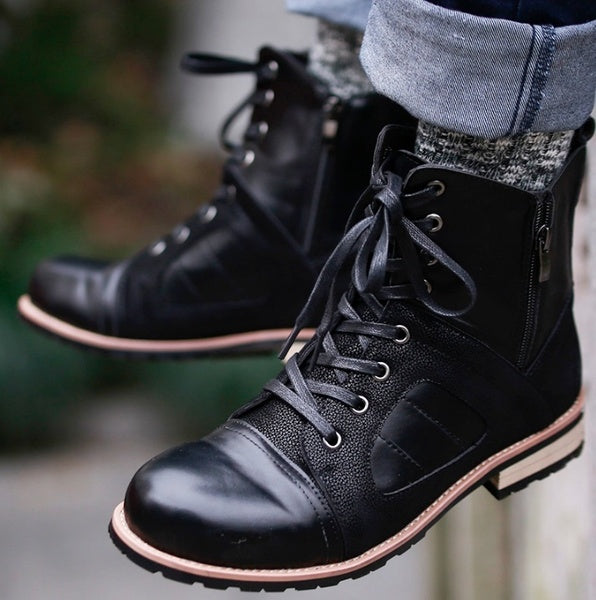 Men's Round Toe Lace Up Comfortable Martin Boots