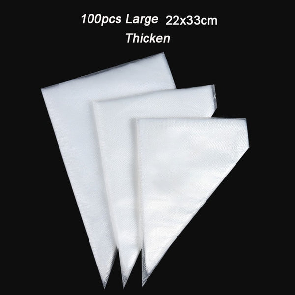 100pcs Thicken Disposable Pastry Bag Small/Large Size