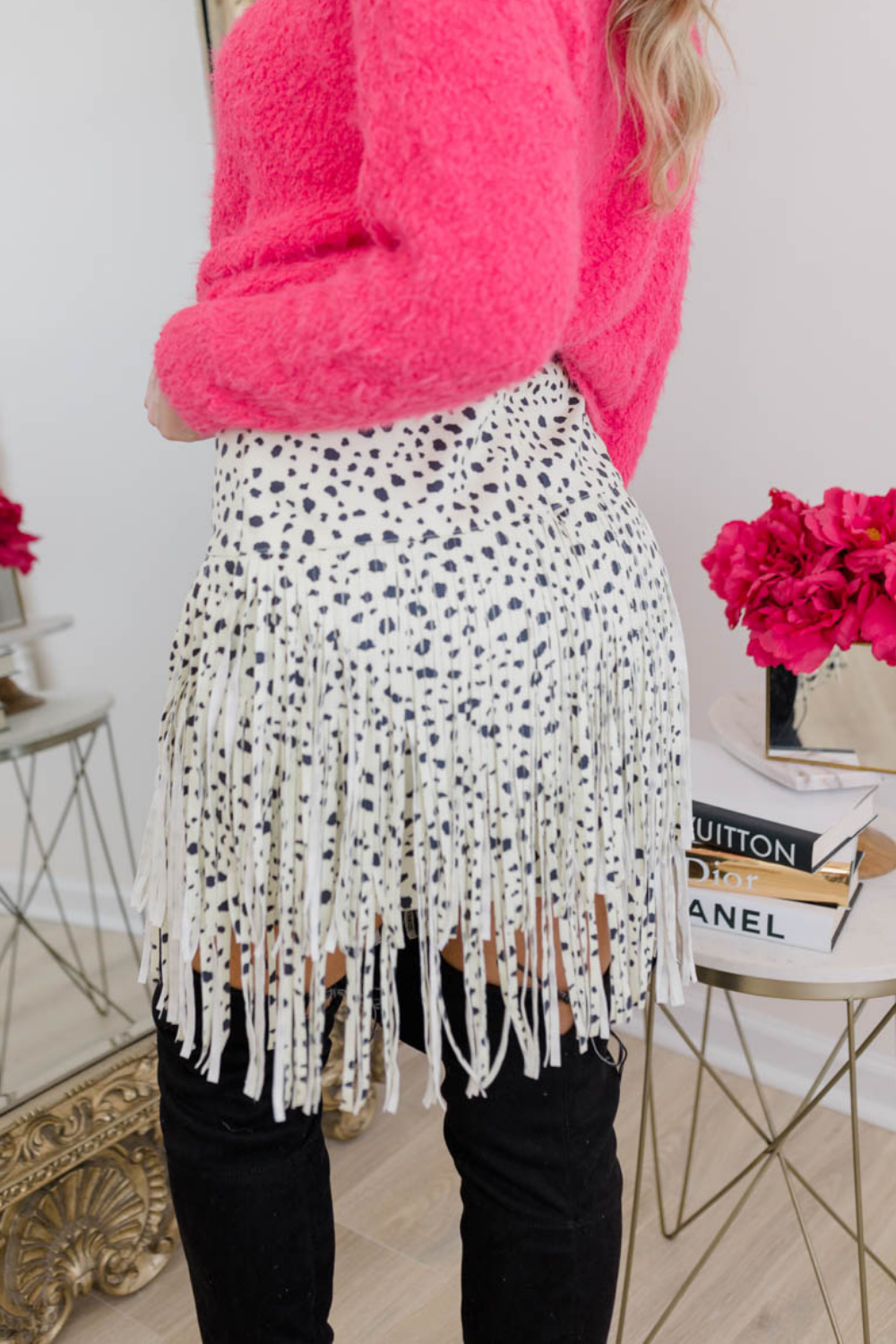 SEEING SPOTS FRINGE SKIRT