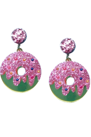 LIGHT PINK DONUT SPARKLE DROP EARRINGS