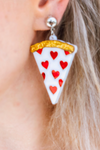 HEART PIZZA SLICE ACRYLIC DROP EARRINGS