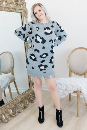 LEOPARD AND LOUIS SWEATER DRESS