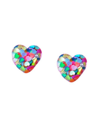 MULTICOLOR CONFETTI HEART RESIN POST EARRINGS