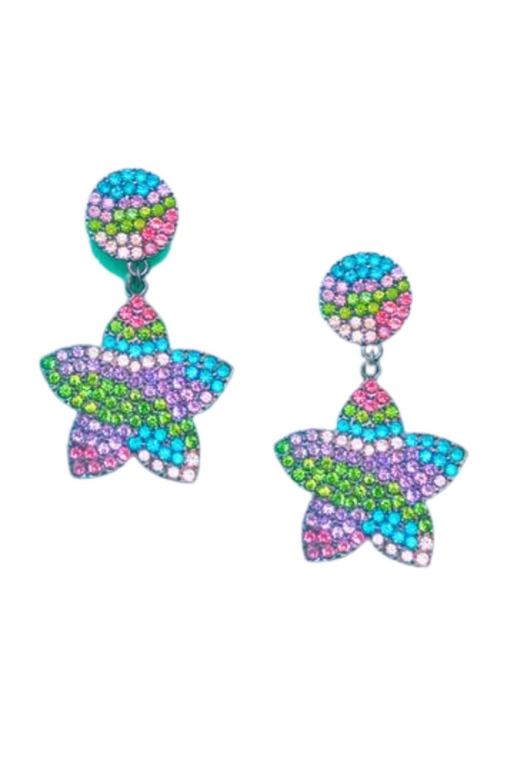 PASTEL RAINBOW SPARKLE RHINESTONE STAR DROP EARRINGS