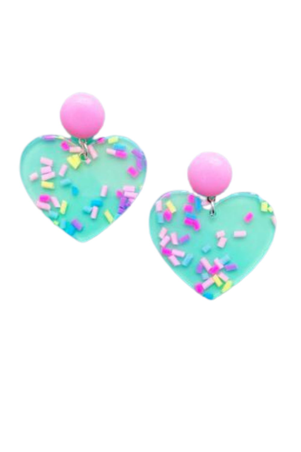 SPRINKLES PRINT ACRYLIC HEART DROP EARRINGS