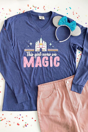 THIS GIRL RUNS ON MAGIC LONG SLEEVE TEE