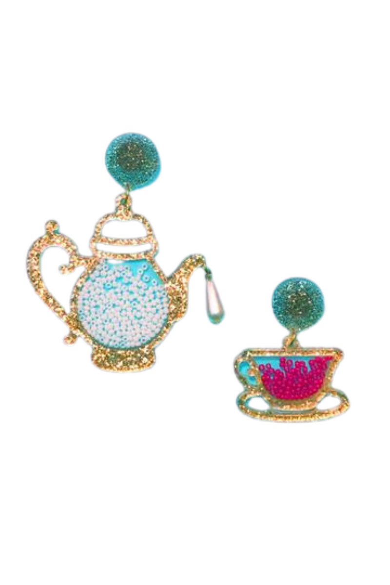 GOLD TEA PARTY ACRYLIC ALICE IN WONDERLAND DROP EARRINGS