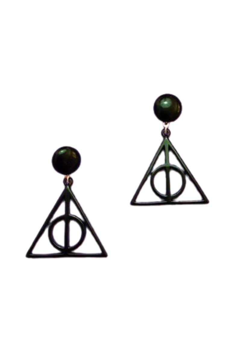BLACK DEATHLY HALLOWS ACRYLIC DROP EARRINGS
