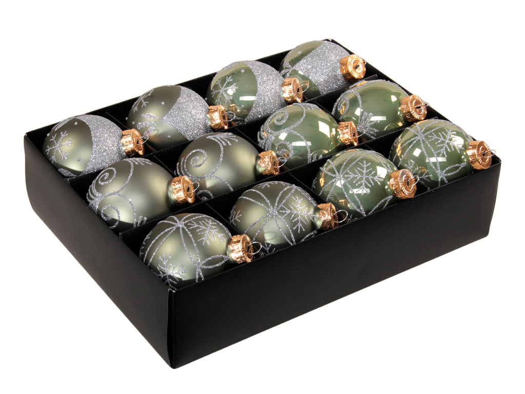 Christmas Balls 24 pcs - Granit Green