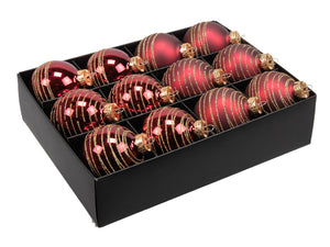 Christmas Balls 24 pcs - Dark Red