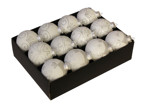 Christmas Balls 24 pcs - Arctic White