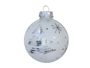 Christmas Balls 24 pcs - White with silver