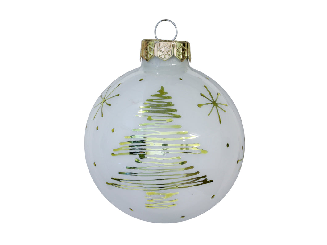 Christmas Balls 24 pcs - White with gold