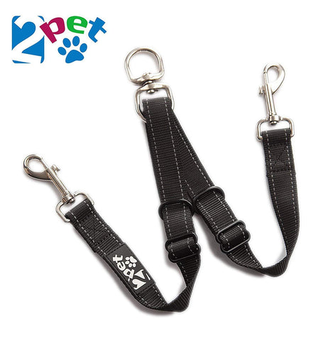 2PET® Double Dog Leash Tangle Free Adjustable Leash Couple