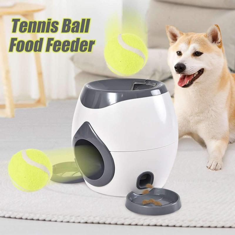 StoreSpree 2 In 1 Pet Dog Toys Interactive Automatic Ball Launcher Tennis Emission and Food Dispenser