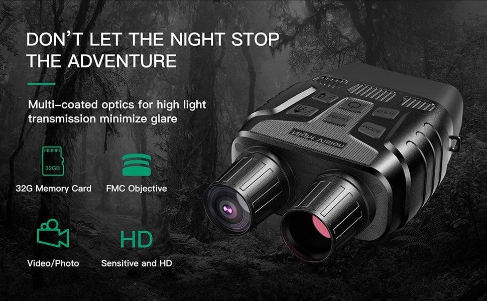 LemonFrogs NV400DB HD Digital Night Vision Binoculars with LCD Screen Infrared (IR) Camera Take Photo Video from 300m Night Hunting Goggles