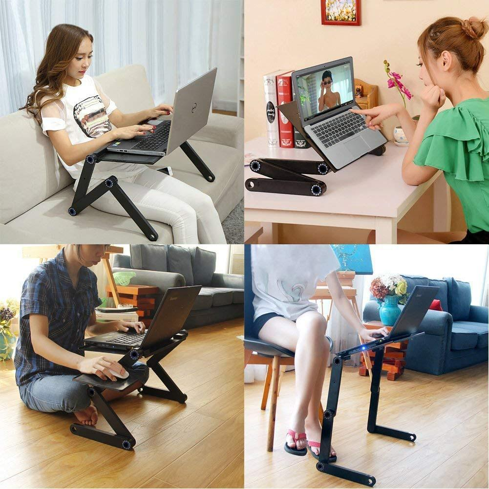 Modelo stores Two Fan Laptop Desks Portable Adjustable Foldable Laptop Notebook Lap PC Folding Desk Table