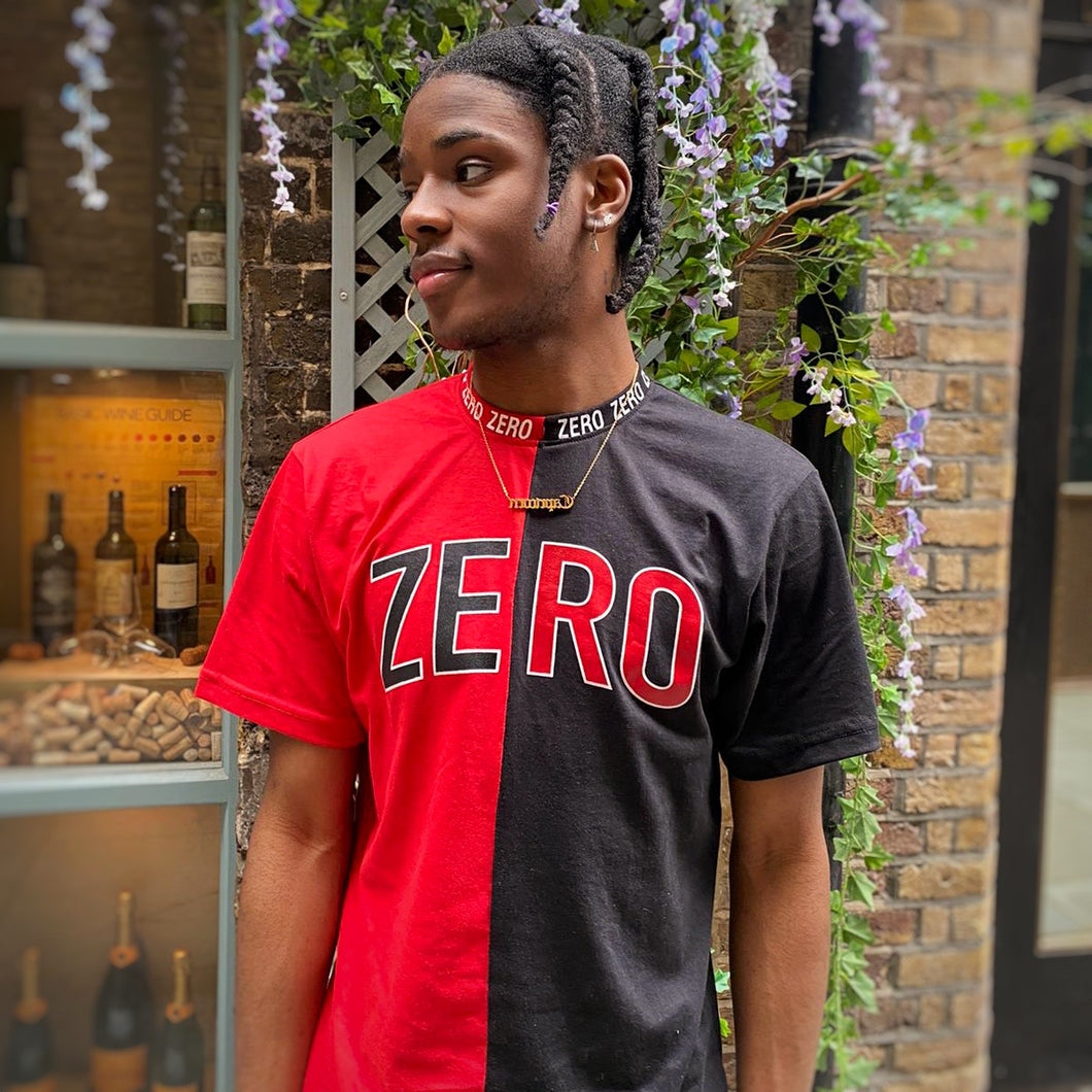 UNISEX OVERSIZED BLACK & RED SPLIT RINGER NECK TEE - Zero Clothing UK