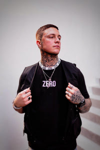UNISEX OVERSIZED RINGER NECK TEE - BLACK WITH WHITE LOGO - Zero Clothing UK