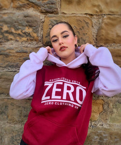 LIMITED EDITION UNISEX RELAXED FIT BURGUNDY & BUBBLEGUM HOODIE - Zero Clothing UK