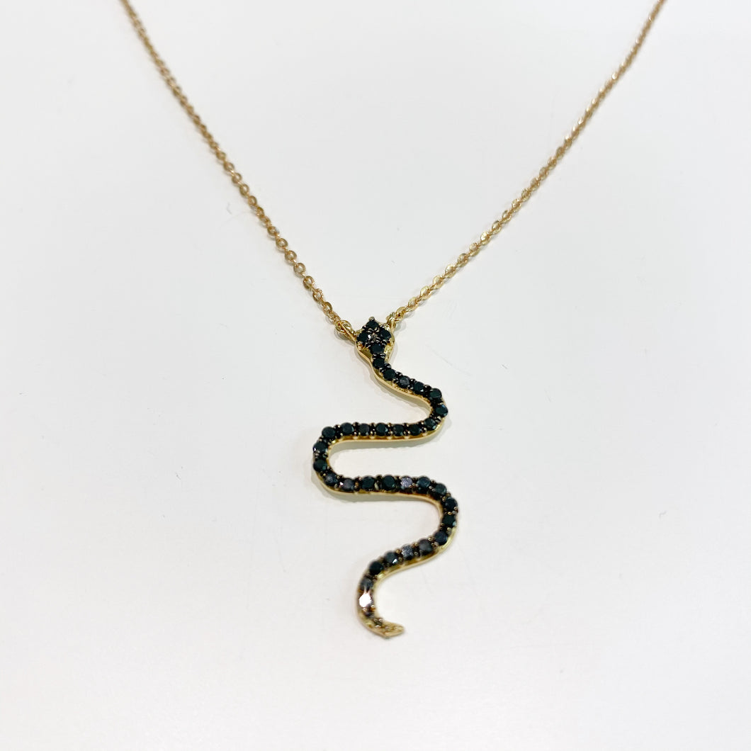 Collana Serpente in Oro con Diamanti Neri