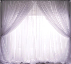 10ft x 10ft Sheer Voile Drape - White (Double-layer)