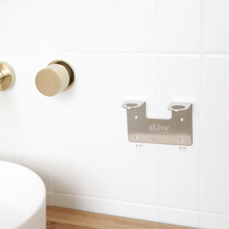 DOUBLE WALL HOLDER - BRUSHED NICKEL - al.ive body®