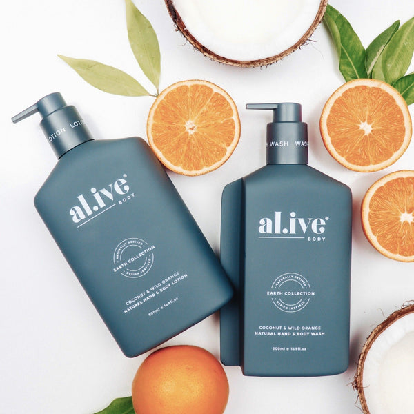 WASH & LOTION DUO + TRAY - Coconut & Wild Orange - al.ive body®