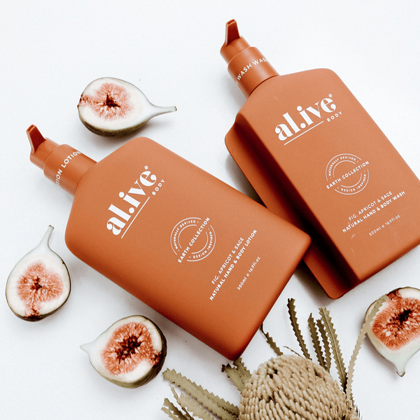WASH & LOTION DUO + TRAY - Fig, Apricot & Sage - al.ive body®