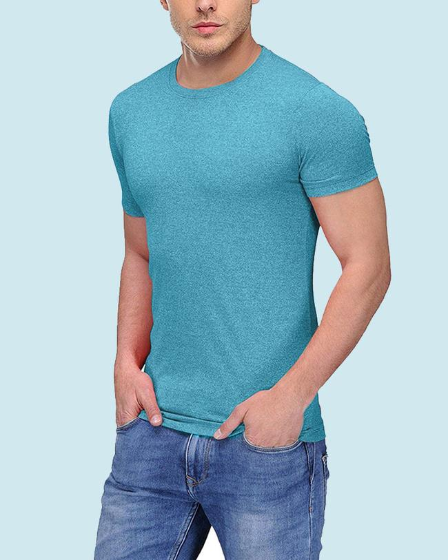 TEAL GRINDLE MELANGE ROUND NECK T SHIRT