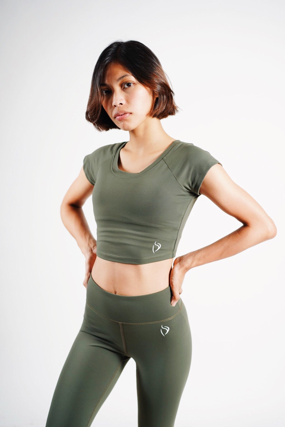 Shape Up Crop top - Army Green