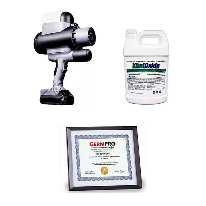 EMist Epix360 Handheld Electrostatic Sprayer kit with sprayer, disinfectant and free certification course.