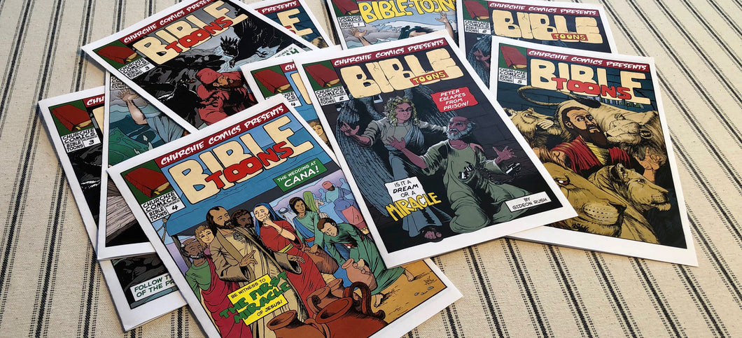Stack of several issues of Bible-toons.