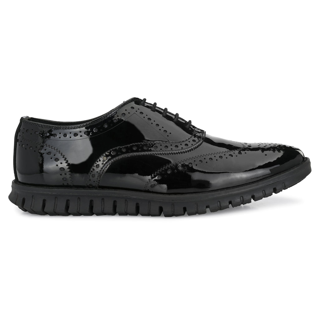 Legwork Brogue Black Patent Leather Shoe