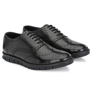 Legwork Brogue Black Italian Leather Shoe