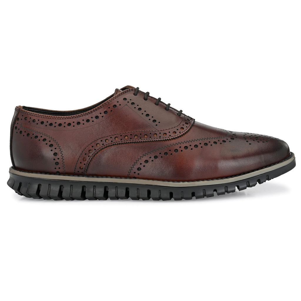 Legwork Brogue Brown Italian Leather Shoe
