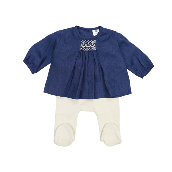 Classique Girl Linen Hand Smocked Blouse & Knit Leggings - Navy/Beige