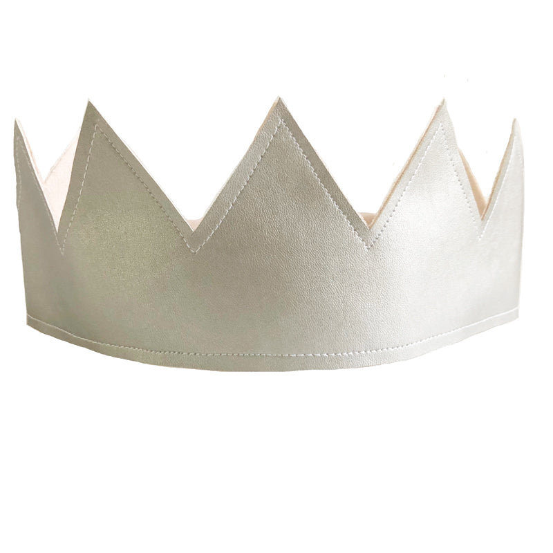 Fabric Crown - Pink Linen and Silver